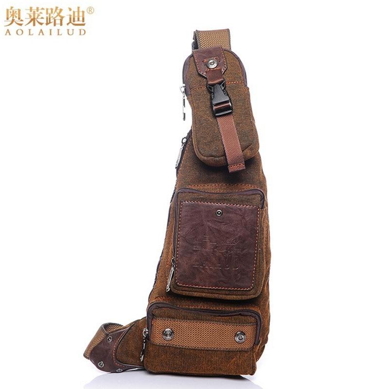 Kiváló minőségű vászon mellkasi táska férfi lovaglás utazás alkalmi hevederes váll Messenger Crossbody táskák Vintage trend férfi vissza csomag