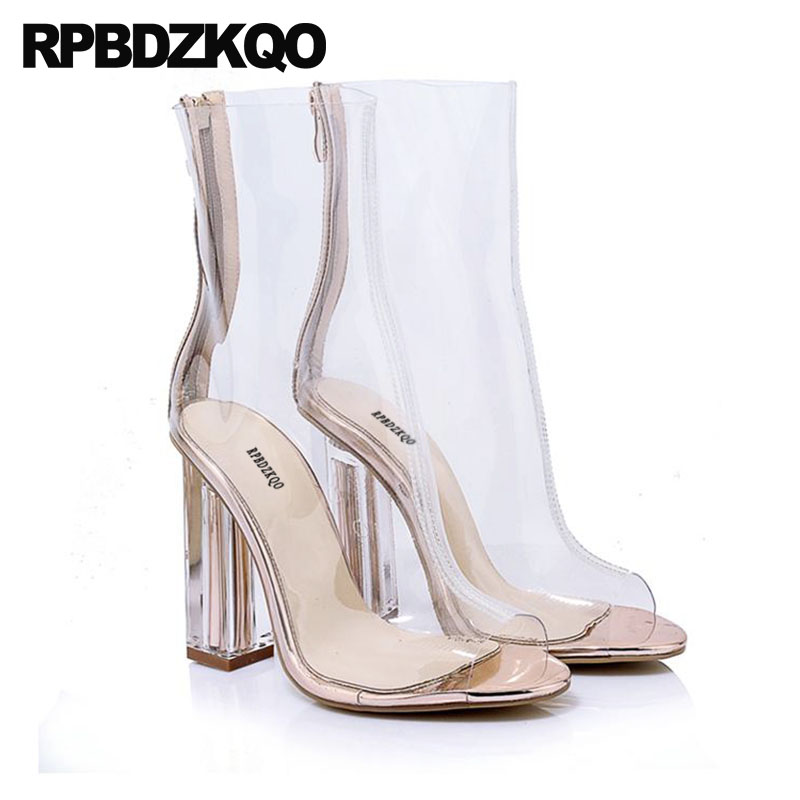 Boots Sandals Designer Shoes Women Luxury 2018 Clear Chunky Mesh Ankle Summer High Heel Transparent Peep Toe Pvc Brand Big Size