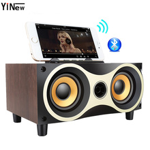 Wooden Wireless Bluetooth Speaker Portable subwoofer HiFi Shock Bass Altavoz FM TF AUX USB TV Soundbar for iPhone Sumsung Xiaomi