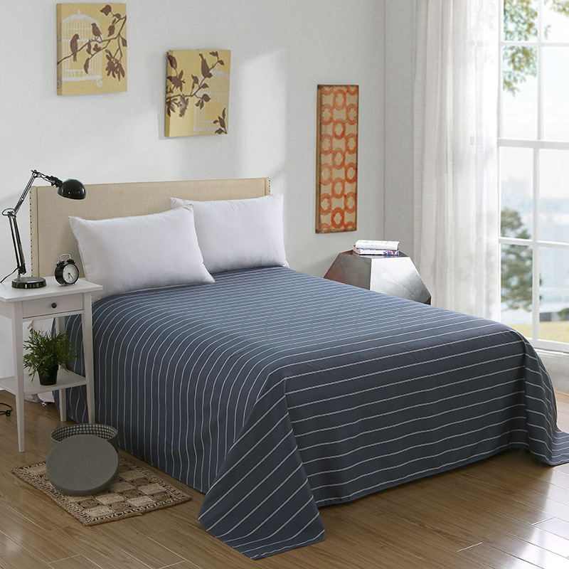 Home Textile Autumn Bedding Soft Stripe Bed Cover Printed Bed Flat Sheets Duvet Cover Set for Twin Full Queen King Size