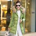 Moda de Nova Arrivel 2016 Outono Inverno Das Mulheres Para Baixo Casaco Médio comprimento do Colar da Pele Do Falso Com Capuz Outwear Algodão Toda a Partida Senhora Parka