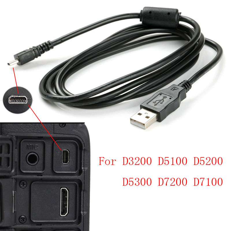 10pcs 150cm USB Data Cable Camera Data Pictures Video Sync Transfer Cables 8pin for Nikon Olympus Pentax Sony Panasonic Sanyo image