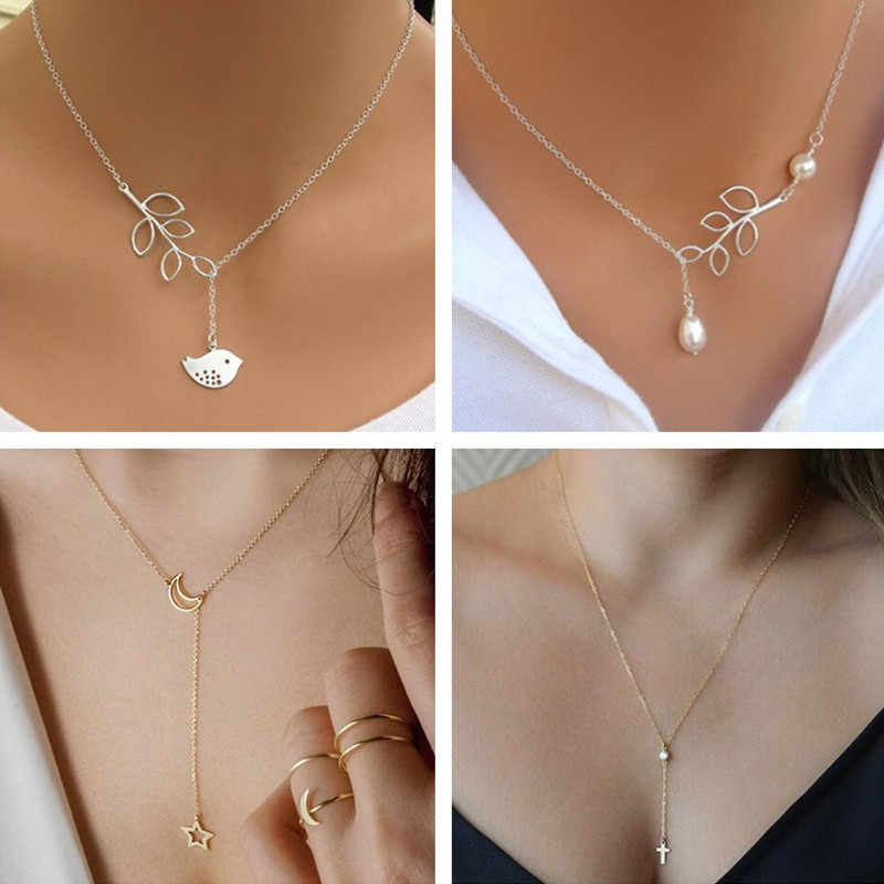 Seblasy Hot Selling Leaves Feather Infinity Simulated-Pearl Cross Chain Pendants Necklaces for Women Valentine's Day Gifts Femme