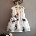 Girl Dress Summer 2017 Brand Baby Girls elegant cat texture Dress Kids Clothes Children Dress Princess Party Dresses for Girls
