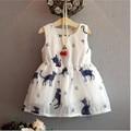 Vestido de niña de Verano 2017 Muchachas de la Marca Bebé gato elegante textura Del Vestido Embroma la Ropa Los Niños Vestido de Princesa Vestidos de Fiesta para Niñas