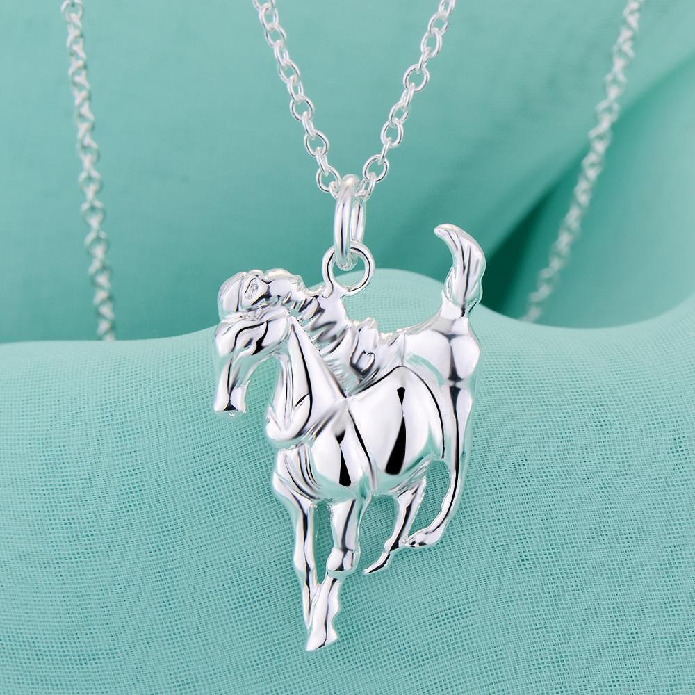Promotions charm women horse necklace jewelry Beautiful fashion Elegant silver plated tag chain pretty Lady Gift