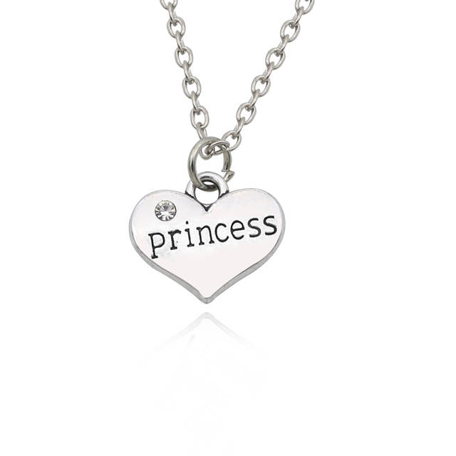 Online Shop Best Friends Daddy Princess Baby Girl Flower Girl Charm Pendant  Necklace Silver Rhinestone Love Heart Necklace For Women Collar  345843944f68