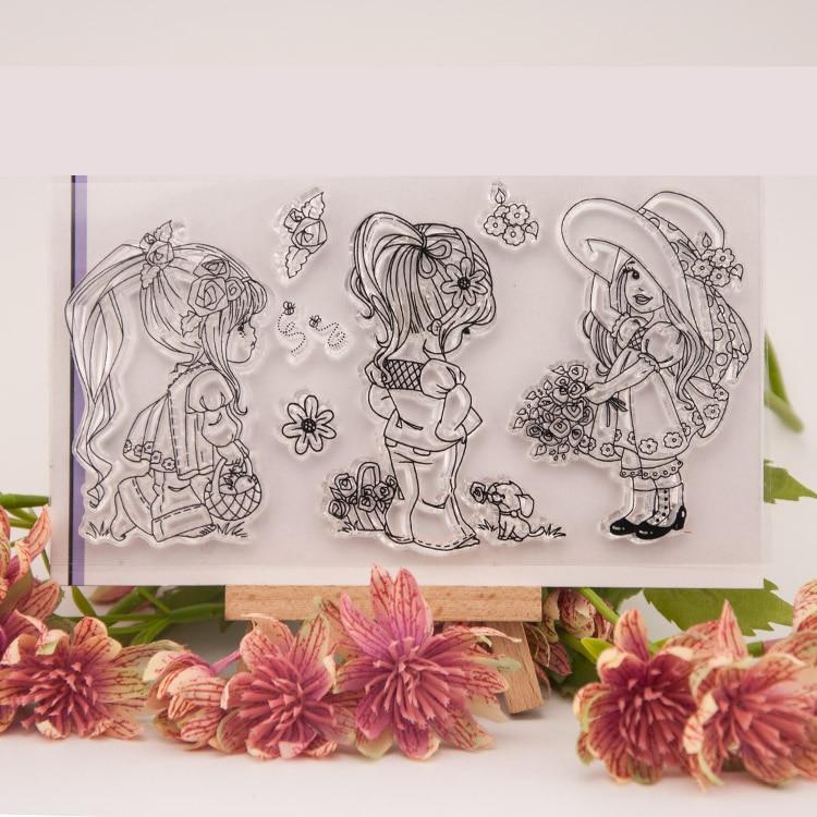 Cartoon Girl Clear Stamps Scrapbook DIY Photo Album Account Transparent Silicone Rubber cartoon seal handwork art gift lexington studios 24018g its a girl mini album