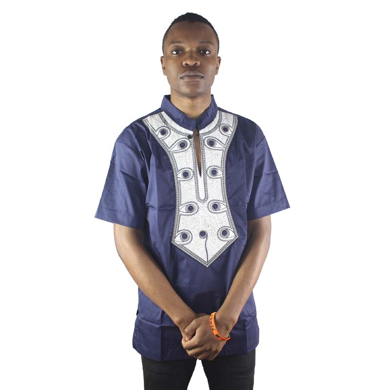 Africa Abstract Embroidery Men`s Dashiki Tops African Ethnic Shirts for Summer Wearing