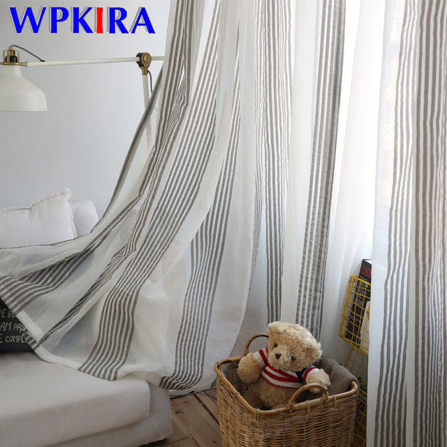 Us 6 9 31 Off Modern Tulle Curtains Living Room Bedroom Grey Stripe Sheer Curtain Voile Kitchen Window Curtains Fabric Blinds Drape Hc050 30 In