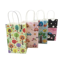 10pcs/lot Cute Animal Paper Bags With Handle 13*22*8cm Birthday Party Holiday Recyclable Multifuntion Shopping Gift Package Bag