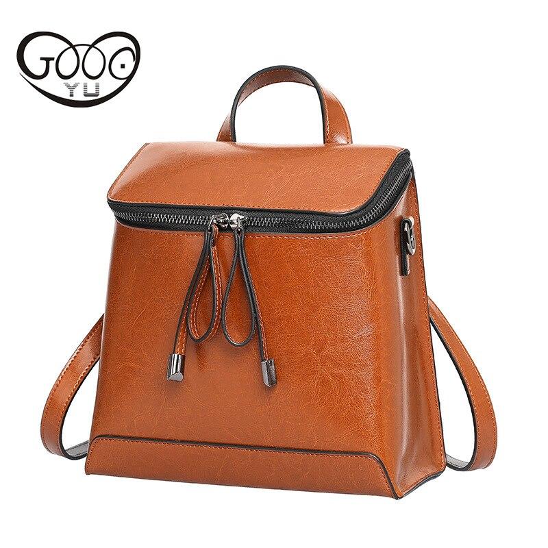 Femmes sac à dos en cuir véritable femmes sacs designer décontracté réel sac à dos en cuir pour ordinateur portable solide femme huile cire vachette sac de voyage