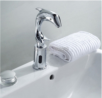 Automatic Hand Touch Free Single Handle Deck Mounted Brass Dolphin Basin Sensor Faucet Bathroom Sink Sensor