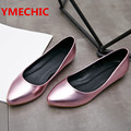 YMECHIC Lovely Casual Pointed Toe Flat Shoes Female Girls Summer Spring Flats Gold Silver Pink Ladies Boat Shoes Woman 2017 Shoe