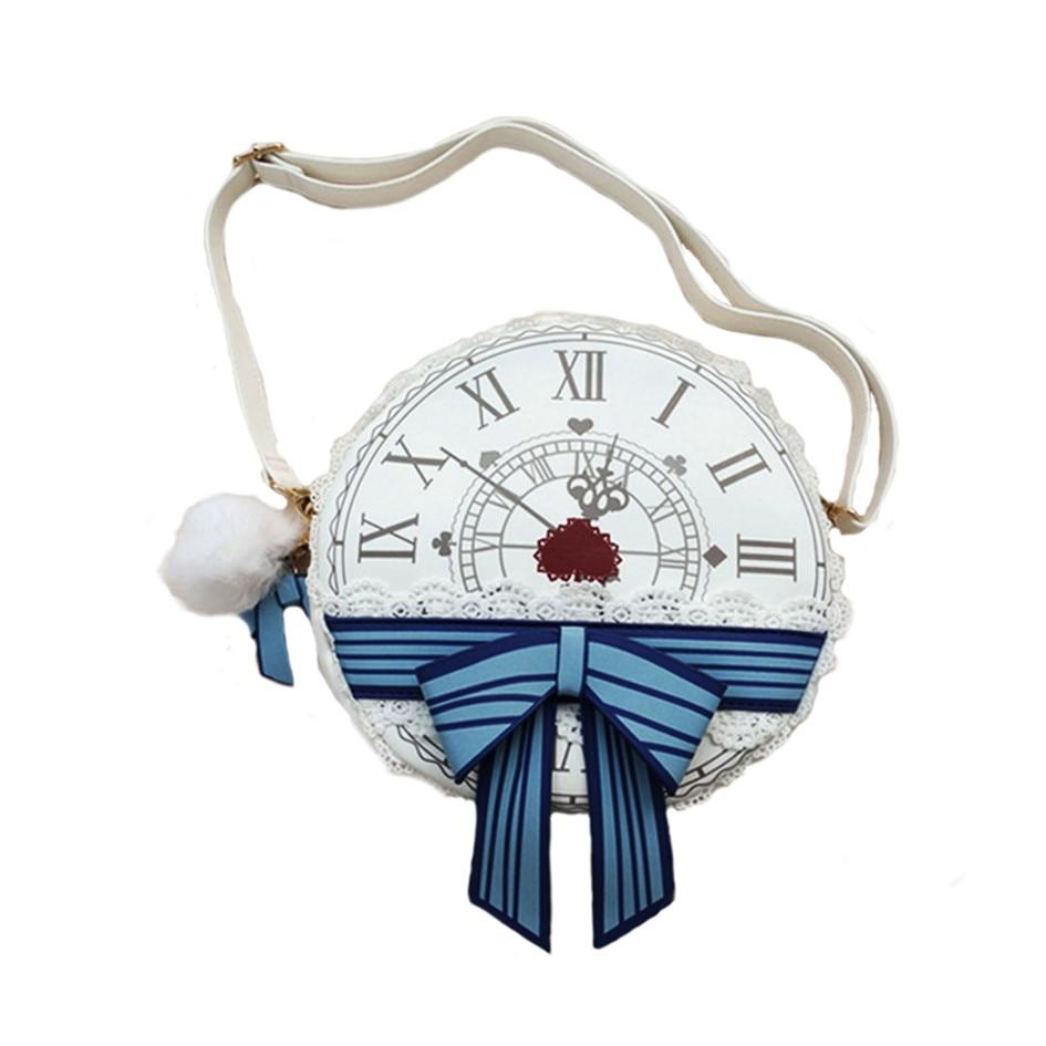 Lolita Alice in Wonderland Clock Zipper Round Bag Messenger Handbag Shoulder Tote Bag Women Girl Gifts tote bag with round charm