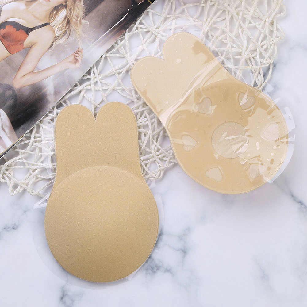 1 par de Mujeres de silicona Invisible pecho levantar sujetador cinta etiqueta engomada cubierta de pezón sin tirantes Health99