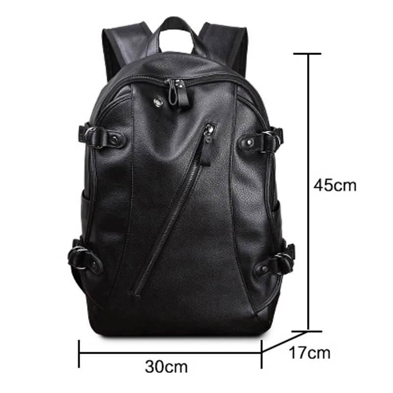 Simple Patchwork Large Capacity Mens Leather Backpack For Travel Casual Men Daypacks Leather Travle Backpack Mochila Waterproof #3
