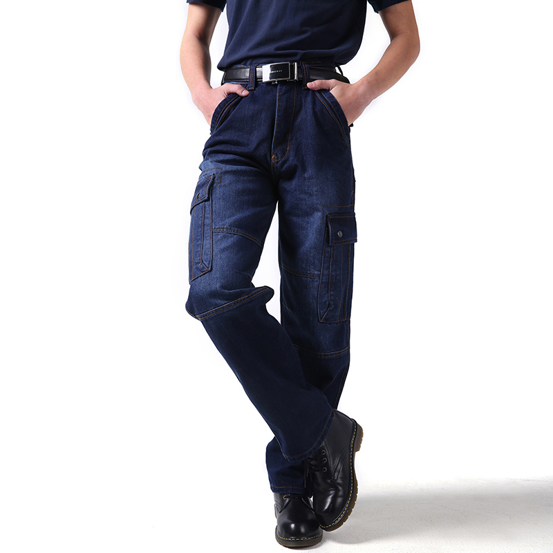 Autumn New Men`s Cargo Jeans Military Tactical Multi Pockets Work Blue Loose Fit Denim Pants For Male Plus Size