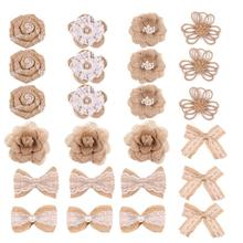 24PCS Rose Lace Bowknot DIY Burlap Flower Craft Accessories With Faux Pearls For Christmas Party Wedding Decoration Beautiful