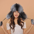 2016 new style women hats winter warm fox fur hat lady luxury Genuine leather Earflap  warm caps for girls