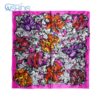 Mohekann New Brand Flower Silk Scarf European Style Oil Painting Chrysanthemum Print Large Square Scarves For