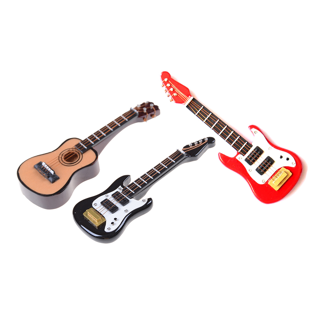 1:12 Cute 1/12 Scale Dollhouse Miniature Guitar Accessories Instrument DIY Part For Home Decor Kid Gift Wood Furniture Craft