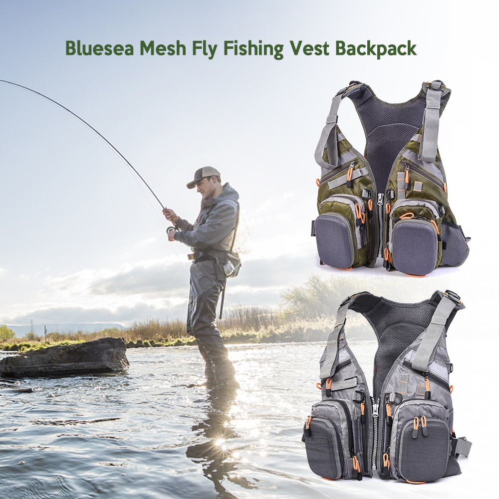Blusea Mesh Fly Fishing Vest Backpack Breathable Outdoor Fishing Vest Drifting Jacket Yellow / White Water Sports Life Vest
