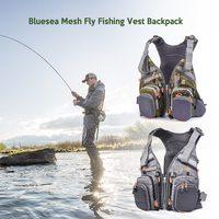 Blusea メッシュフライフィッシングベストバックパック通気性アウトドア釣り漂流ジャケット黄色/白ウォータースポーツライフベスト|救命ベスト|   -