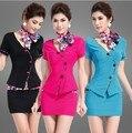 S-3xldrop доставка 2015 женская одежда комплект 2 шт. комплект женщин KTV клуб стюардесса униформа сексуальные ноги сауна техник платье костюм