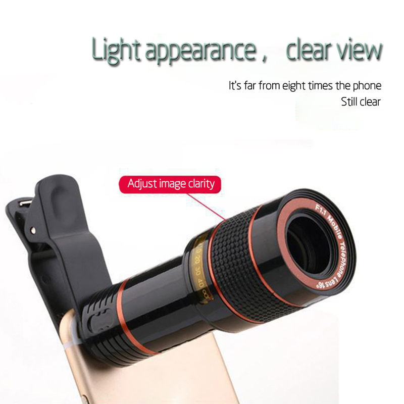 Clip-on 12x Optical Zoom Mobile Phone Telescope Lens HD Telescope Camera Lens For Universal Phones black one size 2