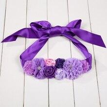 Фиолетовые, розовые, небесно-голубые детские ремни для девочек, атласные стразы, для женщин, Детские Цветочные пояса для вечеринки, свадебные платья пояс с цветами для девушки