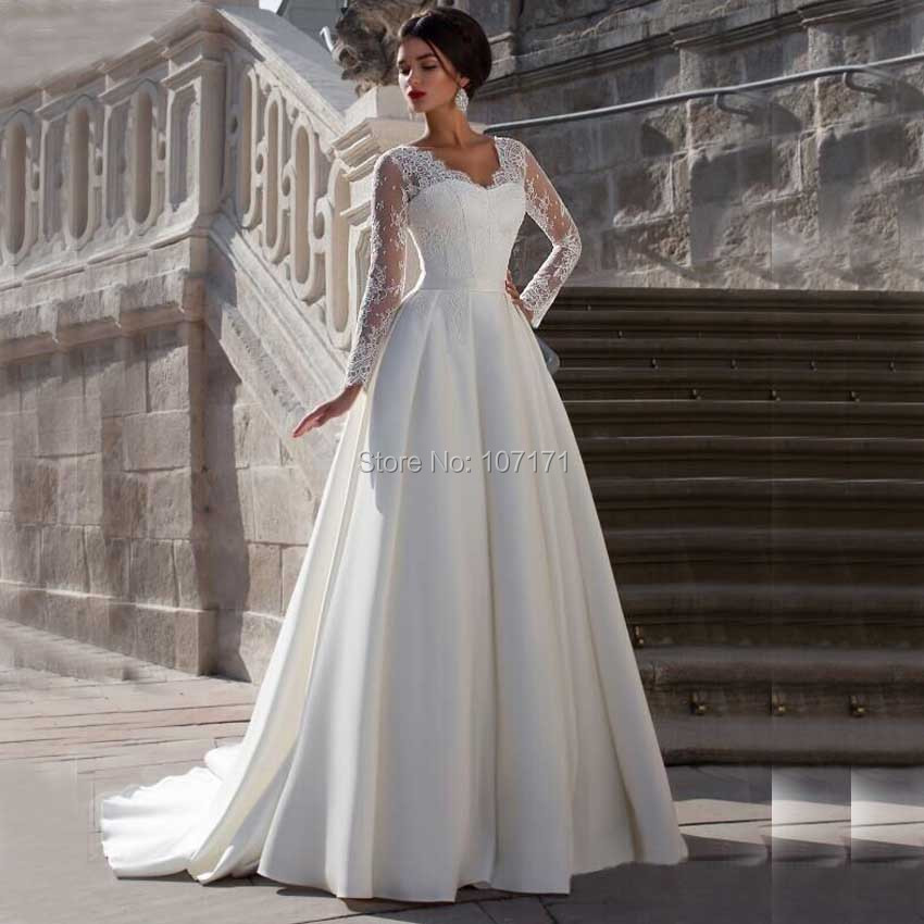 Plain Wedding Gowns: Custom Made V Neck Lace Top Plain Satin Elegant Long
