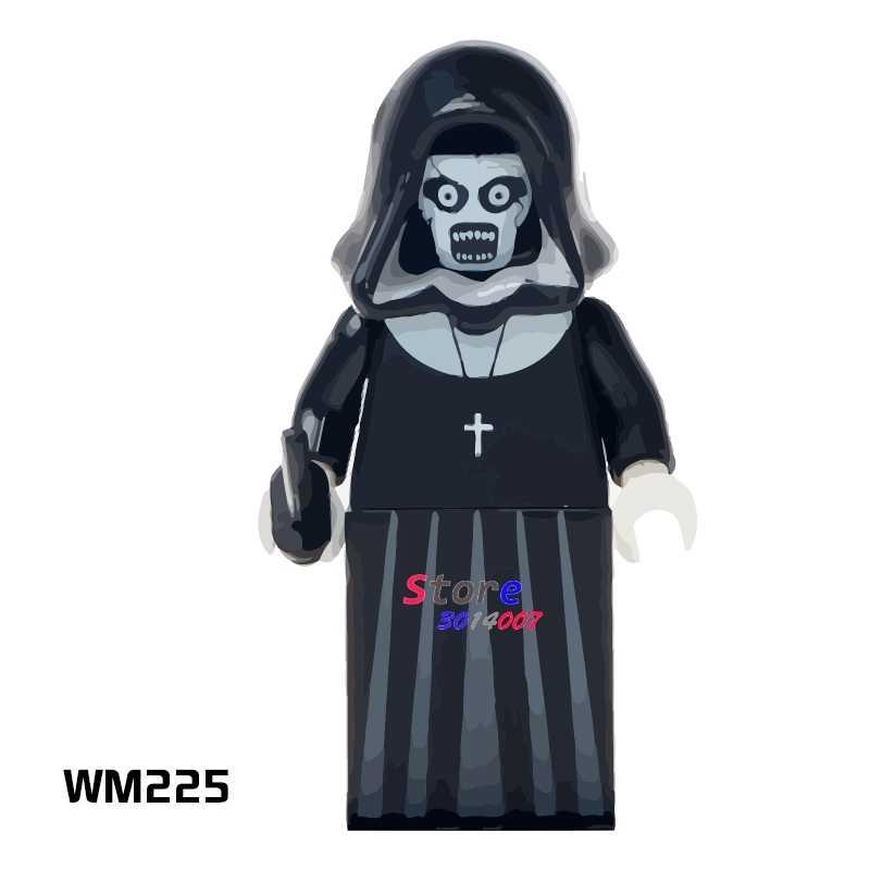 1 قطعة نموذج اللبنات عمل الخارقين الرعب موضوع الفيلم راهبة الملبد دمية diy لعب للأطفال هدية
