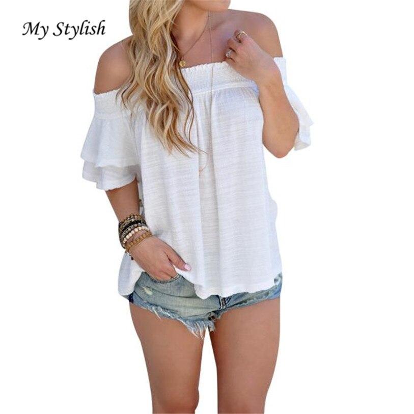 ca7b4b7252e01 2017 Summer New Fashion Women Off Shoulder Blouse Short Sleeve Casual Shirt  Tops Shirts White High Quality Plus Size Feb 13