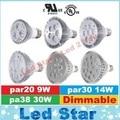 UL E27 Led Spotlights Bulbs Lamp par20 par30 par38 Led Lights Dimmable 9W 10W 14W 18W 24W 30W Led Bulbs Light 110-240V