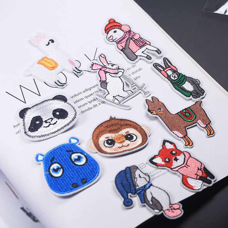 의류에 대한 패치에 자수 아이언 만화 패치 의류 applique 스티커 배지 다림질 장식 폭스 양 팬더 원숭이