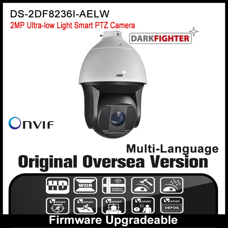 Hikvision  DS-2DF8236I-AELW Original English version 2MP PTZ IP camera CCTV security camera Surveillance POE ONVIF P2P  HD 2017 new ds 2df8836iv aelw english version 4k smart ir ptz camera poe camera with wiper