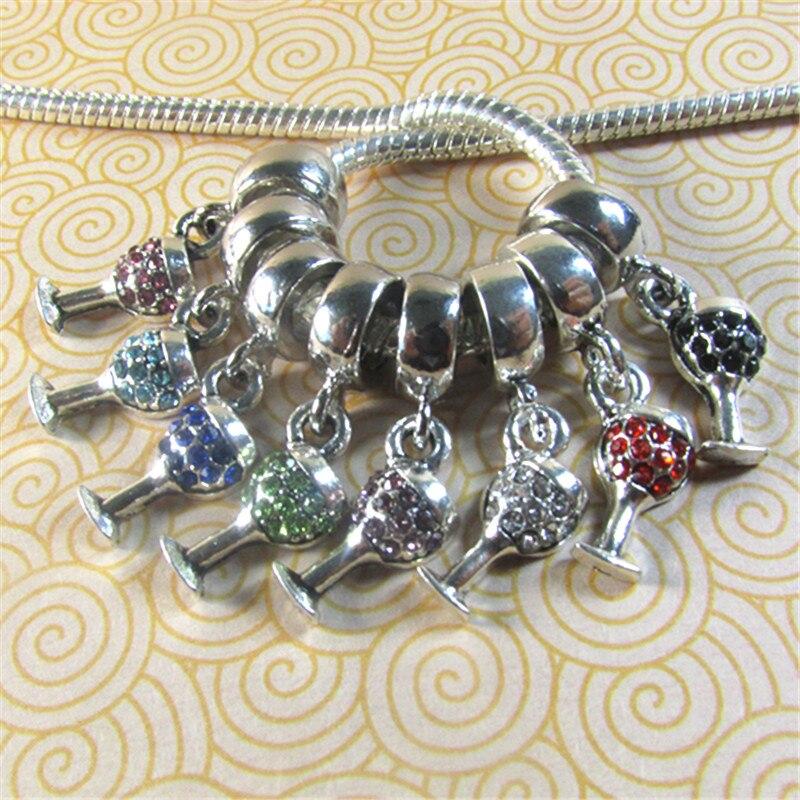 20pcs Czech Crystal Silver//Gold Spacer Big Hole Charm Bead Fit European Bracelet