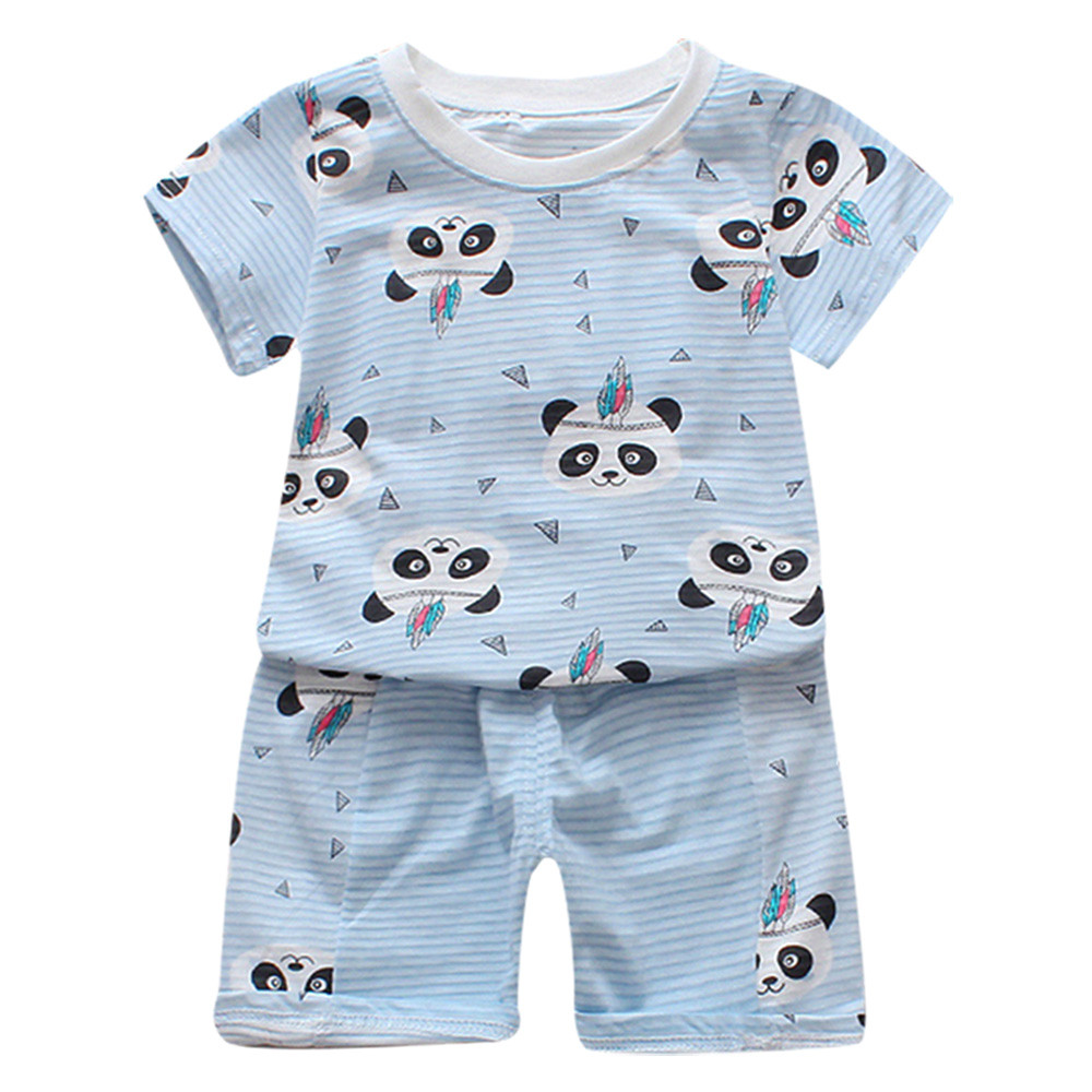 Baby Kids Boys&Girls Rabbit Panda Printed Tops T-Shirt+Stripe Shorts Set Outfits O-Neck Shorts Kids Clothing Sets Casual wear