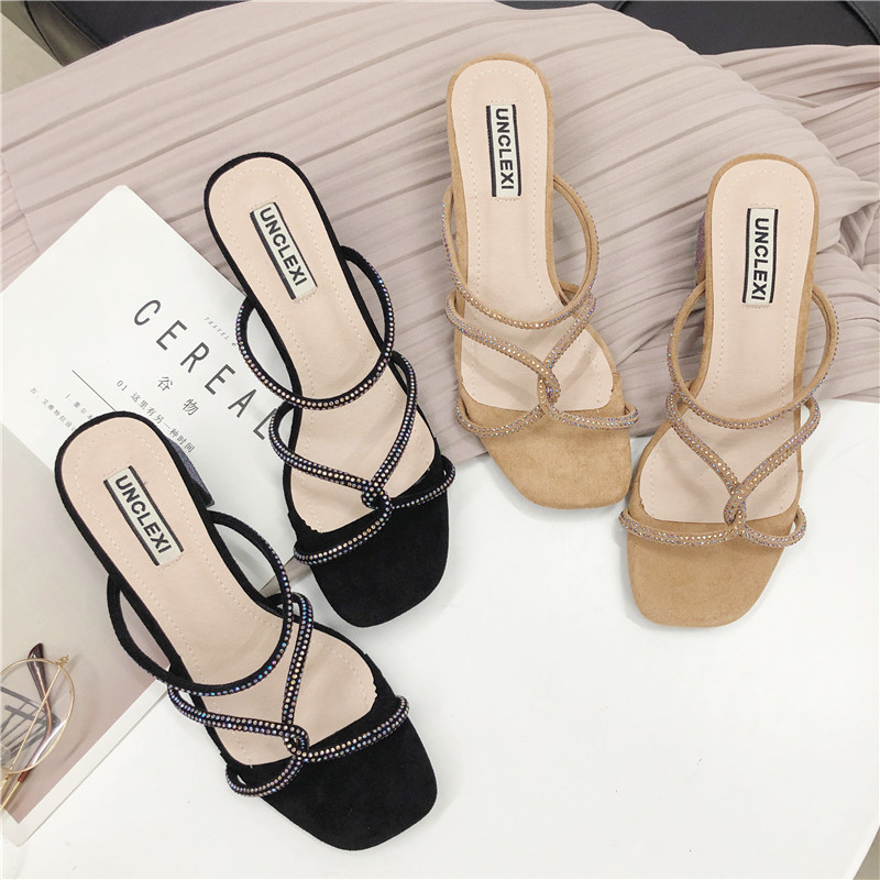 HKCP Fashion New sandals for the summer 2019 fashion versatile sandals one button color drill flat open toe gladiator C361 in Middle Heels from Shoes