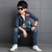 The spring autumn big boy new kids in cardigan jacket cowboy suit