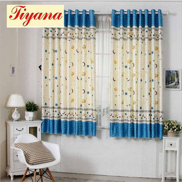 Cotton Printed Short Curtain Kid Bedroom Living Room Window Balcony Blue Cloud Star Wholesale Blind Blackout