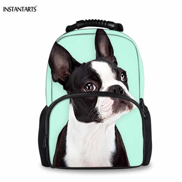 INSTANTARTS Kawaii 3D Dog Boton Terrier Printing Large Felt Backpacks for  Boys Girls Casual Laptop Shoulder Bags Youth Rucksacks