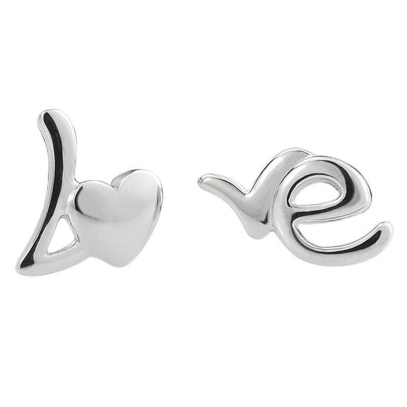 2016 Fashion Love Heart Silver Plated Stud Earrings For Women Small Asymmetrical Letter Earrings Jewelry Wholesale