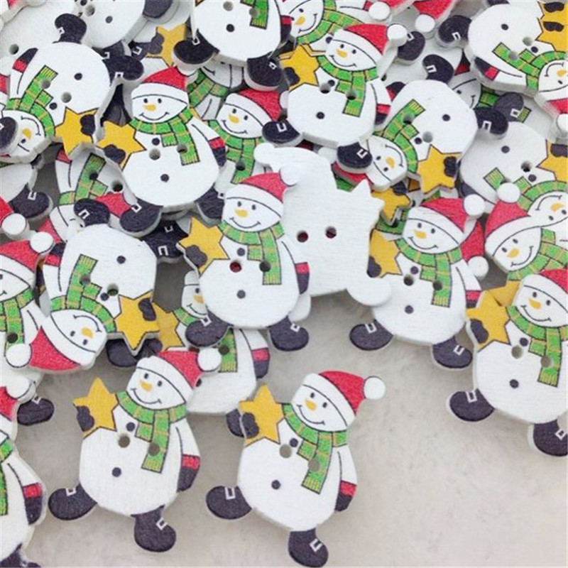 100pcs Snowman Christmas Wood...