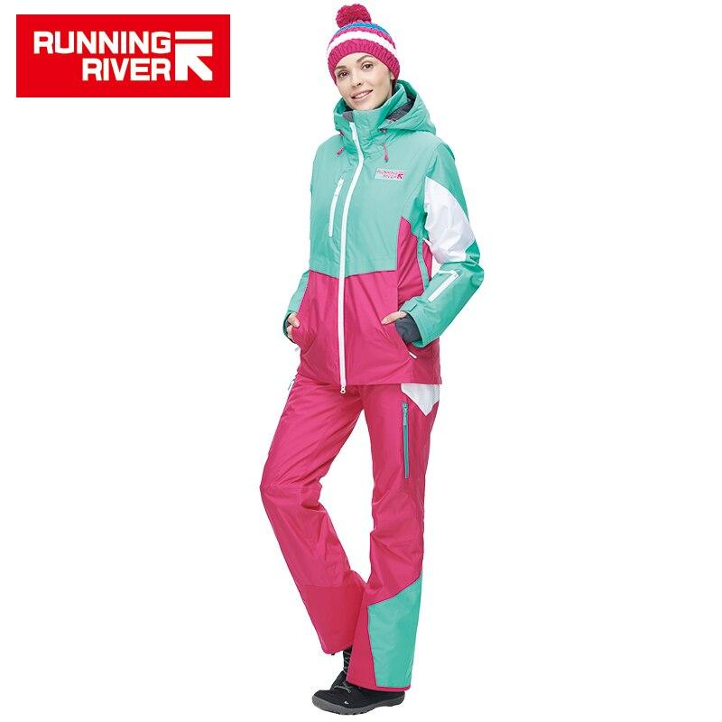 RIVIÈRE qui COULE Marque femmes Haute Qualité Ski Veste Hiver Chaud À Capuche Sport Vestes ski En Plein Air Professionnel # N6414O6444