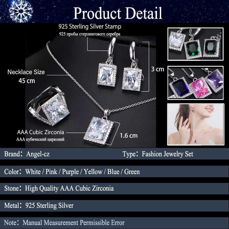 ANGELCZ élégant parti Micro CZ pavé princesse autrichienne violet cristal bijoux collier femmes en argent Sterling 925 3 pièces ensemble AJ142