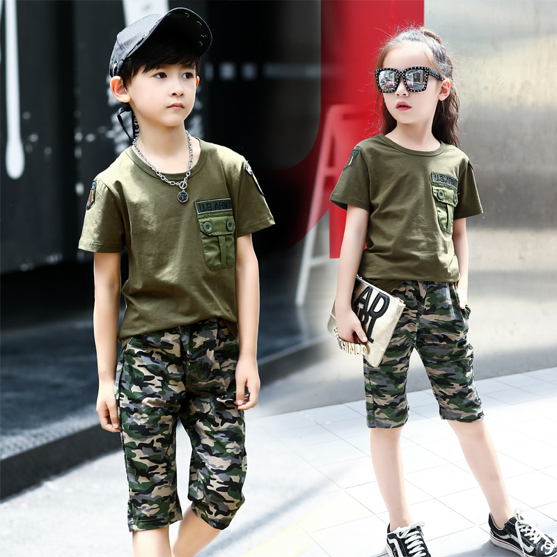 Boys camouflage clothes 2018 summer kids clothing sets girls short sweatshirt and pants big children outfit sports suits 6 to 14