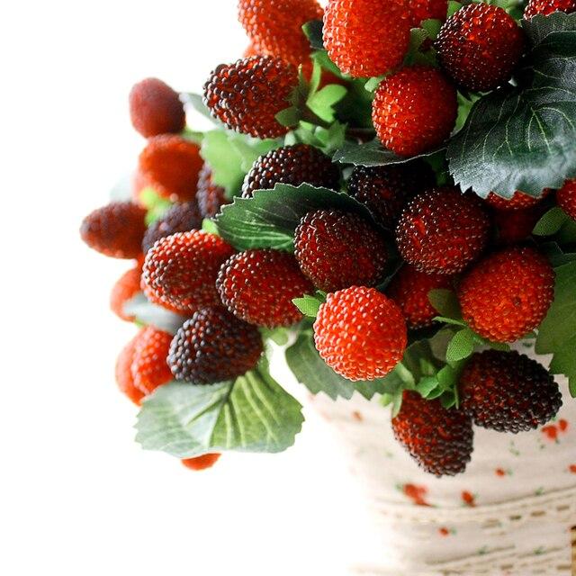 9 искусственный поддельные фрукты свадьба украшение дома цветок искусственный фруктовые весло клубника фото реквизит завод