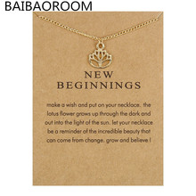 With Card New Arrived New Beginnings Lotus Alloy Chain Pendant Necklace Jewelry